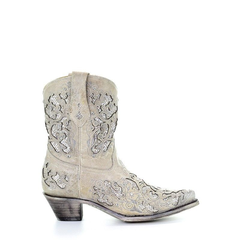 99c2ff3c97e Corral Ladies Mariah White Glitter Inlay & Crystals Ankle Boots A3550