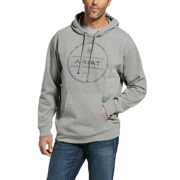 Ariat® Men's Wire Brushed Fleece Heather Grey Hoodie 10033228