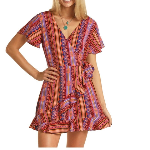 Rock & Roll Cowgirl Ladies Geometric Print Dress D5-5131