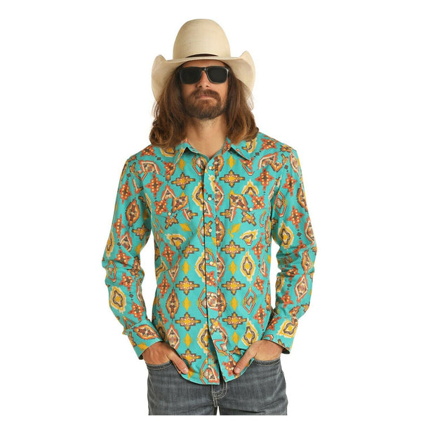 Panhandle Men's Blue Long Sleeve Aztec Poplin Shirt B2S4076