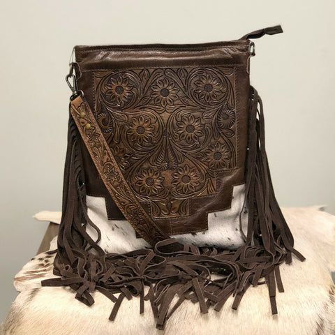 American Darling Brown Leather and Cowhide Crossbody ADBG256BRWSPLBR