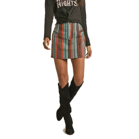 Rock & Roll Cowgirl Green Striped Print Twill Skirt 69-6251