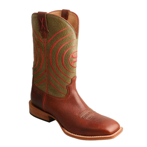 Twisted X Men's Hooey Brown and Olive Square Toe Boots MHY0028