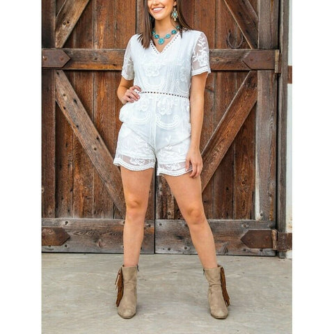 L&B Ladies Ivory Lace Mesh V-Neck Romper NS-43587A-IVORY