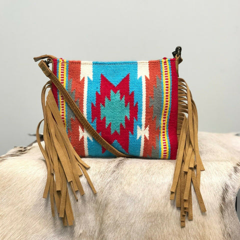American Darling Blue Aztec Saddle Blanket Crossbody ADBG236DAR2