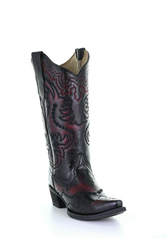 Circle G by Corral Ladies Black & Red Embroidery Boots L5500