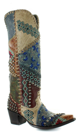 Double D Ranch Ladies Blow Out Bone Multicolor Patchwork Boot DDL050-1