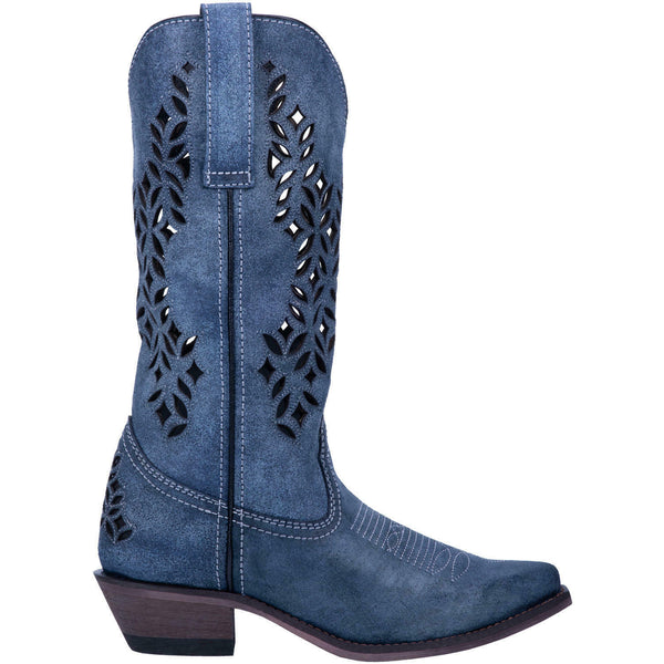 Laredo Ladies Chopped Out Blue Leather Boots 52317