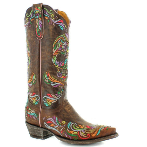 Old Gringo Ladies Dulce Calavera Brass Brown Sugar Skull Boots L3191-2