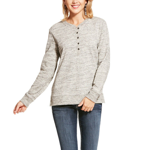 Ariat® Ladies Henley Heather Grey Fleece Sweatshirt 10028748