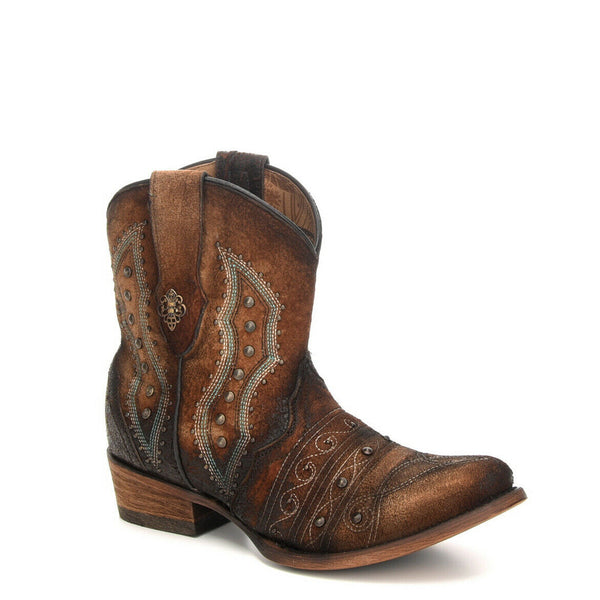 Corral Ladies Chocolate Lamb Embroidery & Studs Shortie Boots C3371