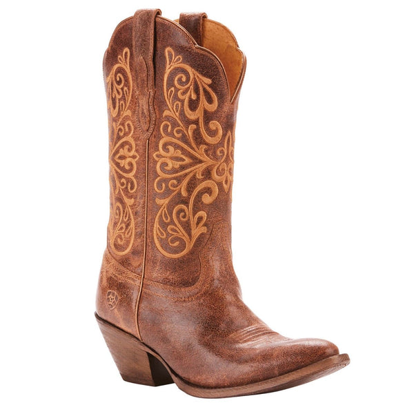 Ariat® Ladies Terra Bella Turnback Tan Embroidered Boots 10025159 - Wild West Boot Store