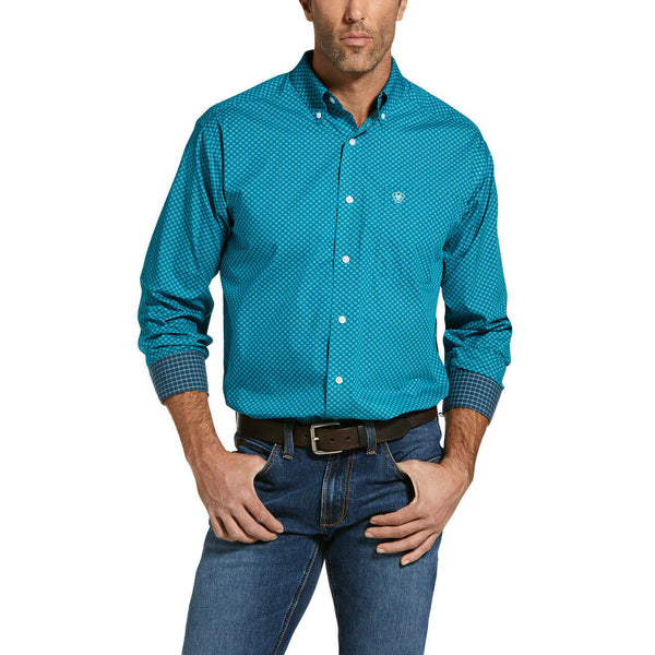 Ariat® Men's Oahu Teal Wrinkle Free Laguna Button Shirt 10033047