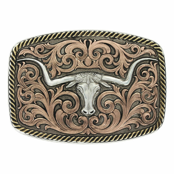 Montana Silversmiths Tri-Color Champion Texas Longhorn Buckle 33010TRI