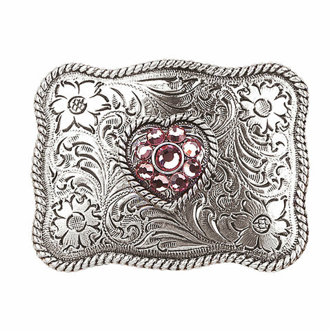 Nocona Girl's Silver Rectangular & Pink Crystal Heart Belt Buckle 37588