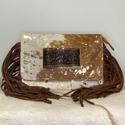 American Darling Gold and Cowhide Fringe Purse ADBG360ACGO