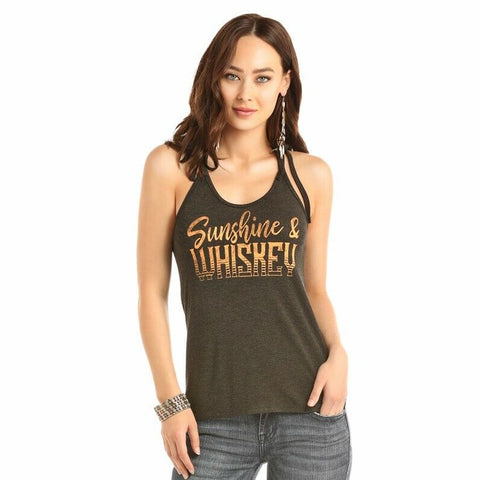 "Rock & Roll Cowgirl ""Sunshine & Whiskey"" Graphic Tank 49-1612"
