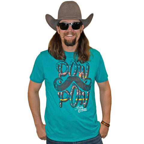 Panhandle Men's Blue Pow Pow Mustache Graphic T-Shirt P9-2037