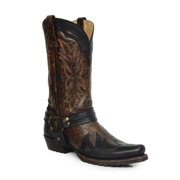 Stetson Men''s Outlaw Toe Harness Brown/Black Cowboy Boot 12-020-6104-1604 - Wild West Boot Store