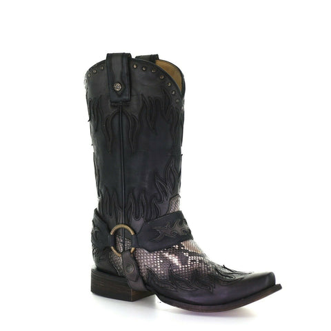 Corral Men's Grey Python Flames Overlay With Harness Boot C3682