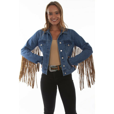 Scully Ladies Leopard Fringe Denim Jacket HC647-DEN