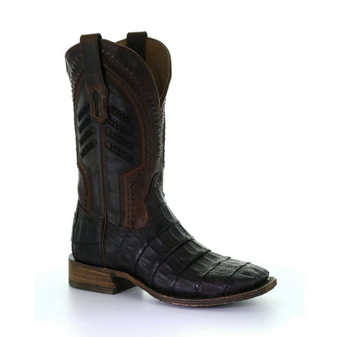 Corral Men's Oil Brown Caiman Embroidery Square Toe Boots A3878