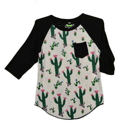 Cowgirl Hardware Girls Black Cacti 3/4 Sleeve Raglan Shirt 455031-010