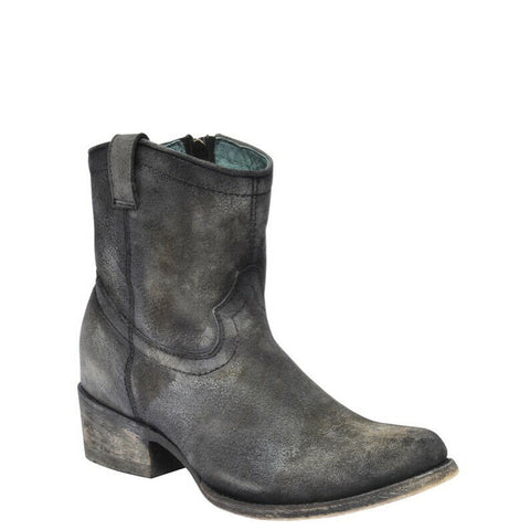 Corral Ladies Grey Lambskin Leather Zip-Up Shortie Booties C3089