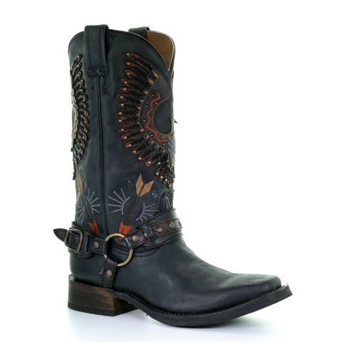 Corral Men's Black Eagle Overlay & Harness Biker Boots A3614
