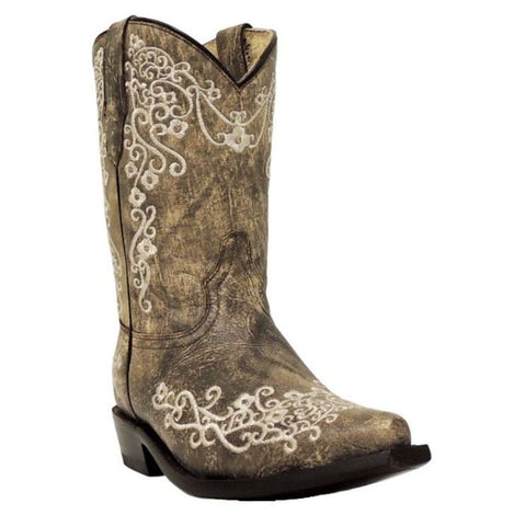 Corral Children''s Brown/Beige Embroidered Boot G1323 - Wild West Boot Store - 1