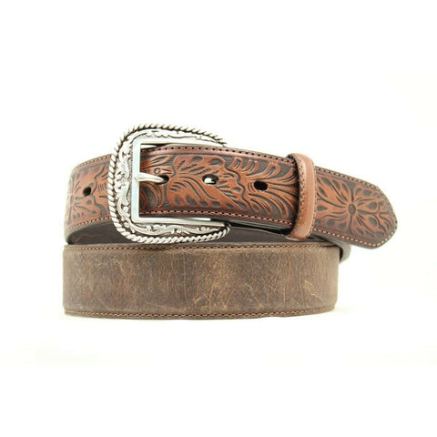Ariat Men's Tooled Tab Distressed Brown Leather Belt A1010402