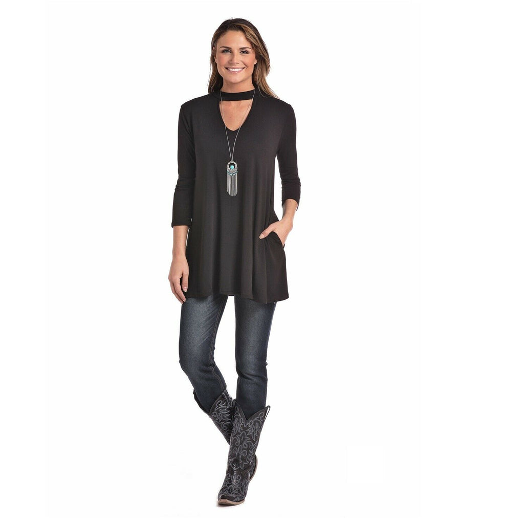 9061afcf Panhandle Ladies Black Choker Style V-Neck Tunic Top L9T8197 – Wild West  Boot Store
