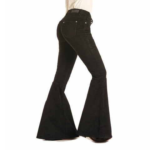Rock & Roll Cowgirl Black Corduroy Bell Bottom Pants W1B3446