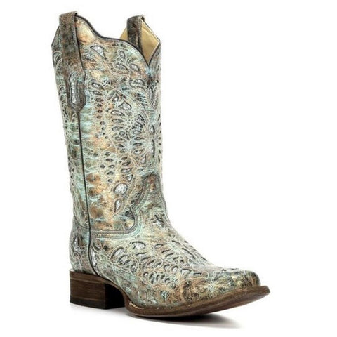 Corral Ladies Metallic Bronze/Turquoise Glitter Boot A2955 - Wild West Boot Store - 1