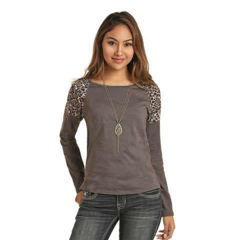 Panhandle Ladies Leopard Shoulder Top 48T3160