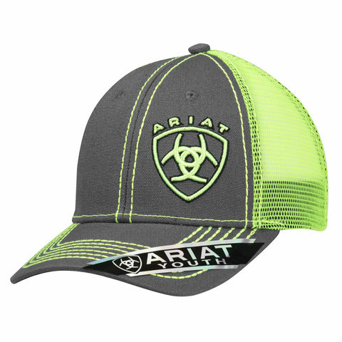 Ariat Youth Unisex Lime Green Signature Logo Snapback Ball Cap 1514323