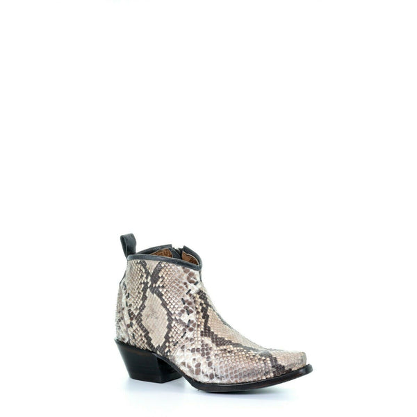 Corral Ladies Natural Python Skin Snip Toe Booties A3655
