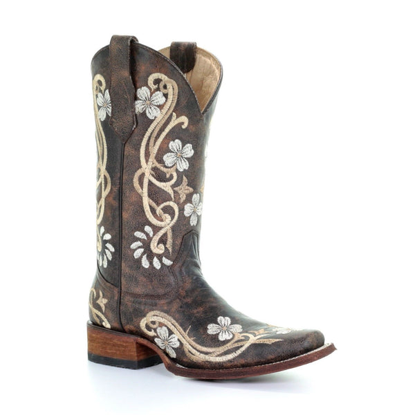 Circle G By Corral Ladies Shedron/Beige Floral Embroidered Boot L5270