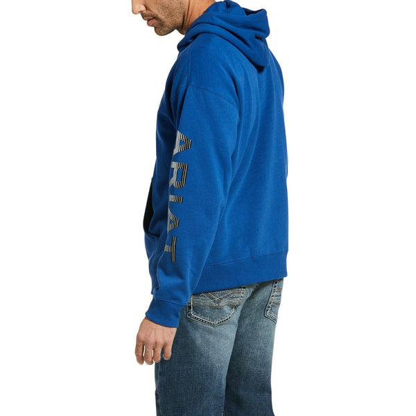 Ariat® Men's Stencil Logo Brushed Fleece Cobalt Hoodie 10033146