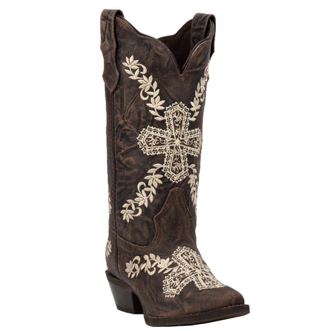 Laredo Ladies Cross My Heart Brown Ivory Embroidered Boots 52174