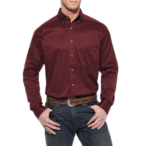 Ariat® Men's Solid Twill Burgundy Long Sleve Button Shirt 10012635