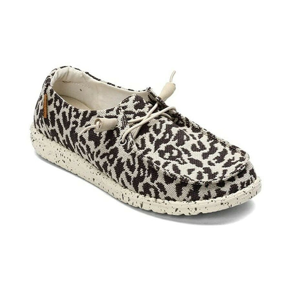 Hey Dude Ladies Wendy Woven Cheetah Grey Shoes 121413091