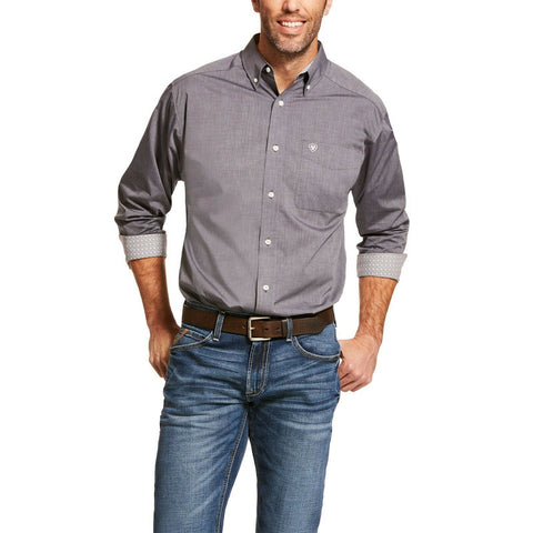 Ariat® Men's Gray Solid Pinpoint Classic Fit Shirt 10028742