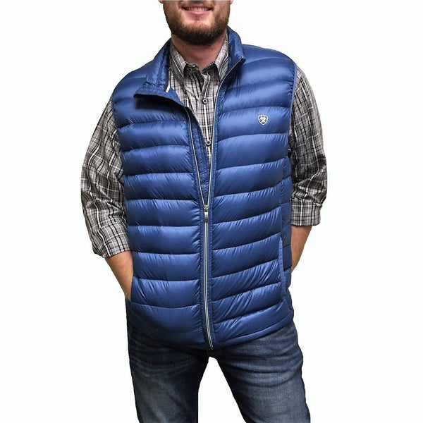 Ariat® Men's Moroccan Blue Ideal Down Vest 10018401 - Wild West Boot Store