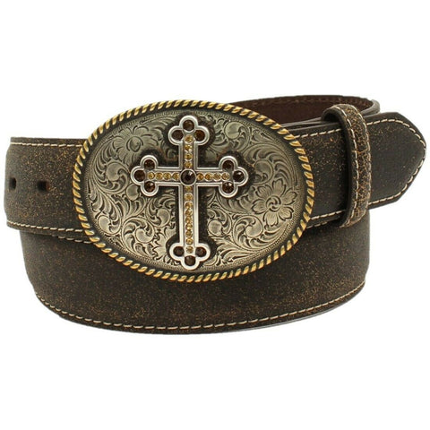 Nocona Ladies Antique Cross Dark Brown Crackle Leather Belt N3444202