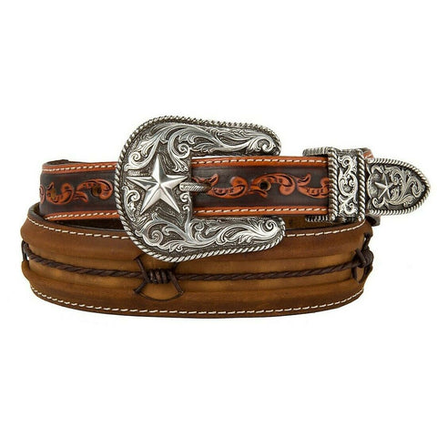Justin Men's Brown Fenced In Barbed Wire Leather Belt C11637