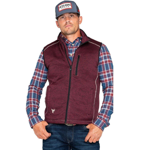 Cowboy Hardware Men's Barbed Skull Fleece Burgundy Vest 188077-120