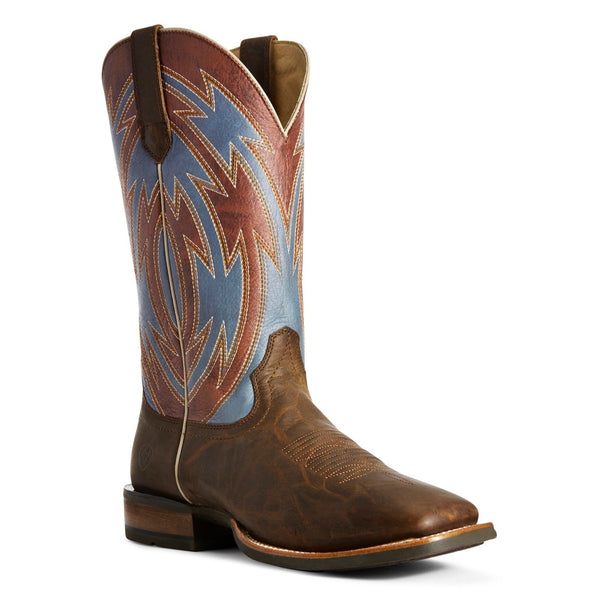 Ariat® Crossdraw Ox Blood Brown Blue & Fireball Red Boots 10027200