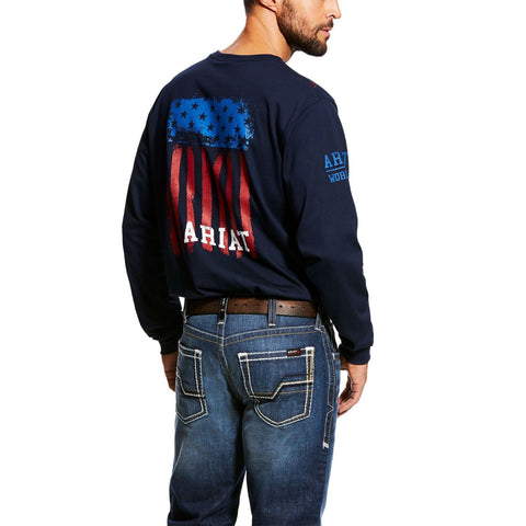 Ariat® Men's FR Americana Graphic Crew Navy T-Shirt 10023951 - Wild West Boot Store