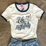 Ali-Dee Ladies Life Is A Highway White Ringer Tee